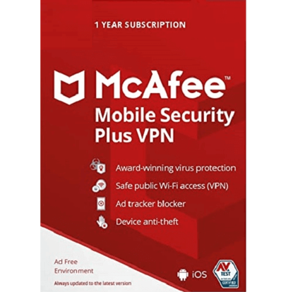 Picture of McAfee Mobile Security Plus VPN - 1-Year / Unlimited Devices - Global