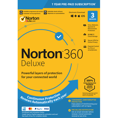 Picture of Norton 360 Deluxe - 1-Year / 3-Device - United States & Canada
